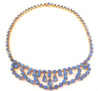 Vintage 50's Blue Rhinestone Studded Swag And Drop Necklace.